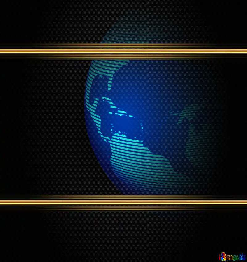 Modern global world earth concept planet symbol Carbon Frame Gold №54515