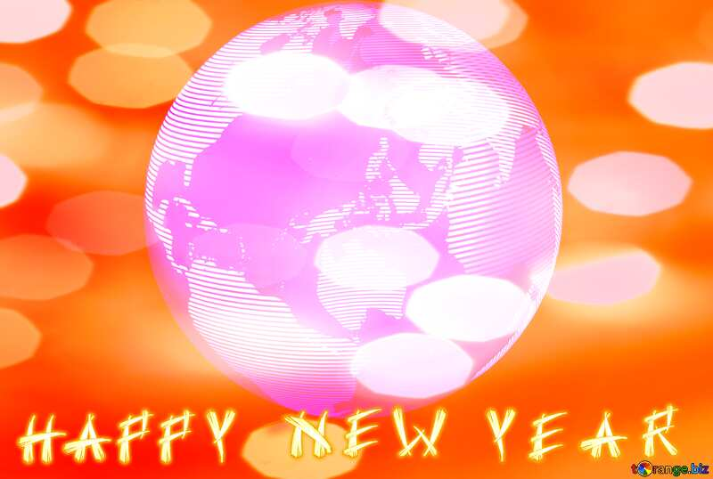 Modern global world earth concept planet symbol Happy New Year №54515