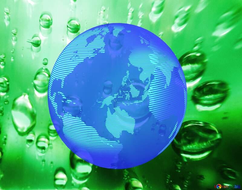 Raindrops macro background Modern global world earth concept planet symbol dark blue Green №47981