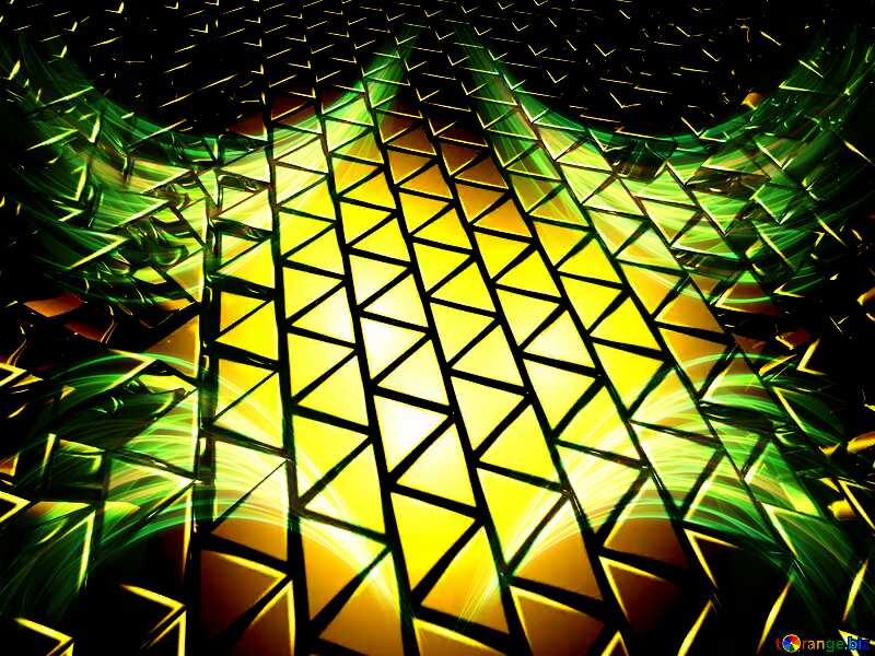 Fractal lights 3D abstract geometric volumetric triangle gold metal background №54502