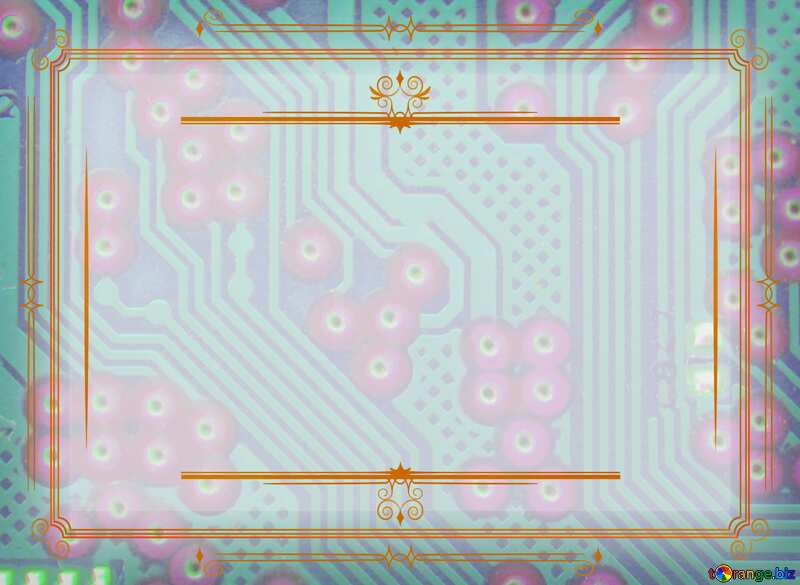 circuit electronic board lines  Vintage frame retro clip art №51568