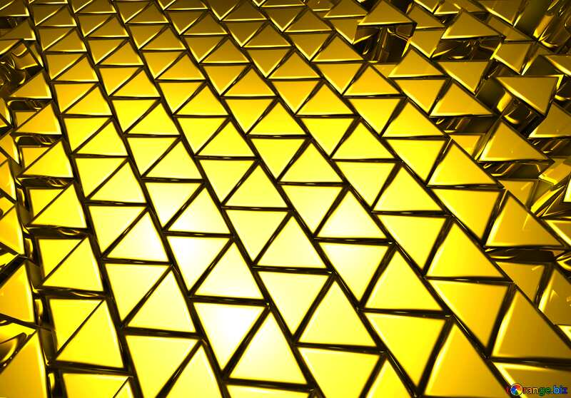 3D abstract geometric volumetric triangle gold yellow metal background №54502
