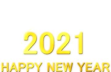 Shiny happy new year 2021 lettering with gold