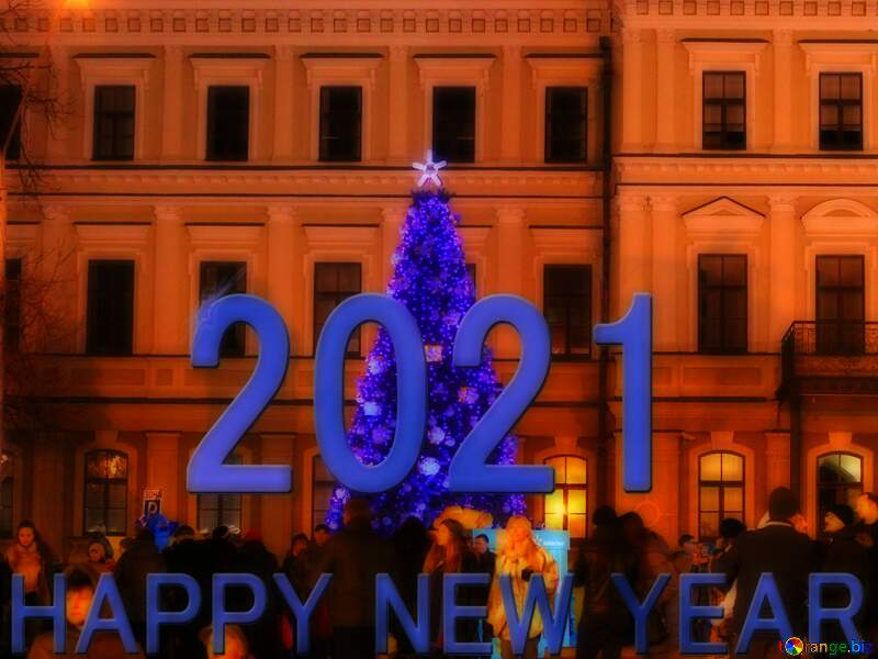Blue christmas tree next to a building 2021 Happy New Year №53563