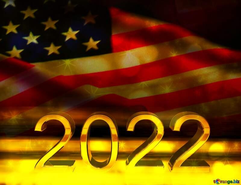 American Flag dark background 2022 gold №52480