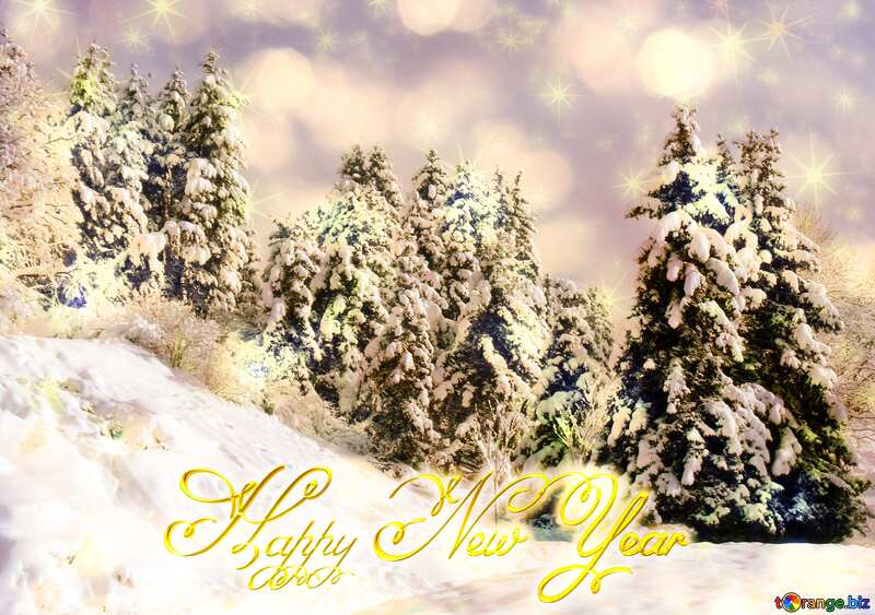 Tree  Snow  forest  Happy New Year christmas bright twinkling stars card №10526
