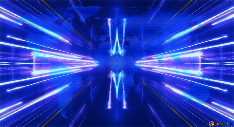 World map blue twinkling stars night pattern Techno neon blue Lights №54504