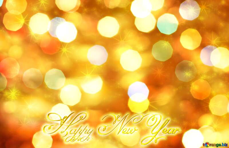 Christmas Happy New Year 3d gold background №24617