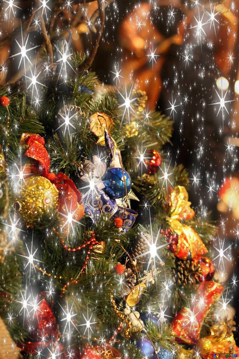 Christmas tree decors twinkling stars №53541
