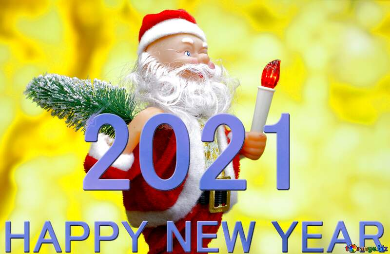 New Year`s card with cheerful Santa Claus toy brings Christmas tree at glow gold bokeh background. Copyspace concept for market banner, poster, congratulations card. 2021 №48150