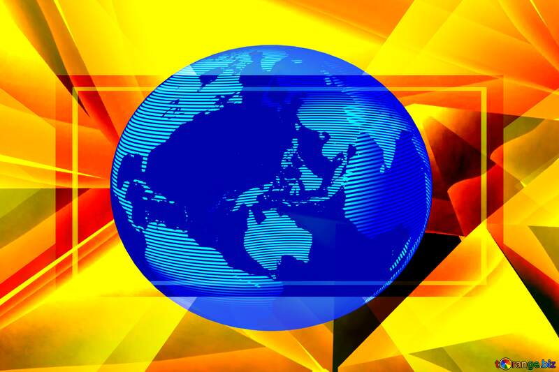 Polygon gold hot yellow background Modern global world earth concept planet symbol dark blue №51586