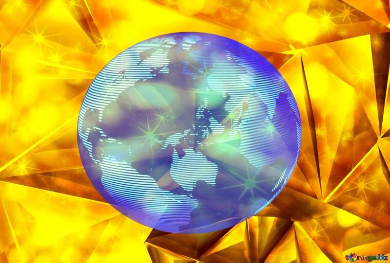 Polygon gold twinkling stars background Modern global world earth concept planet symbol dark blue №51586