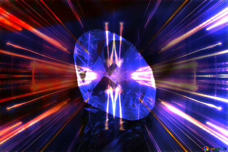 diamond Techno neon blue Lights №52795