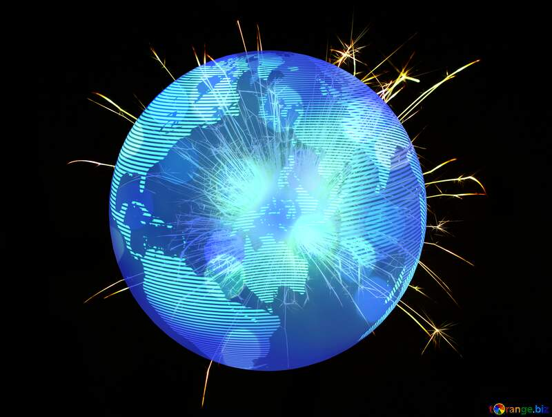 Bright sparks Frame Happy New Year 3d gold stars Earth Planet Global World Concept №25682