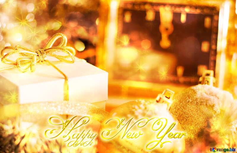 Greeting card with new year Happy New Year 3d gold twinkling stars №15364