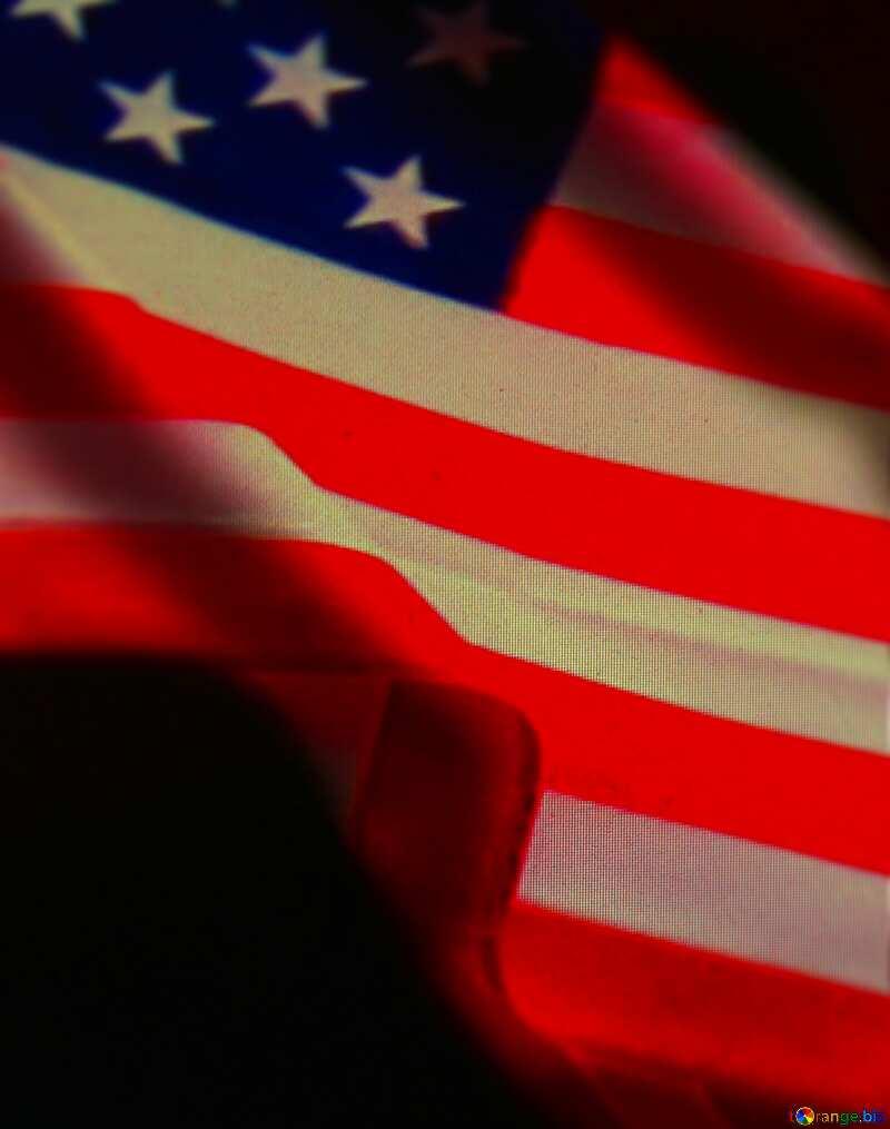 USA American Flag dark background Frame Blur №52480