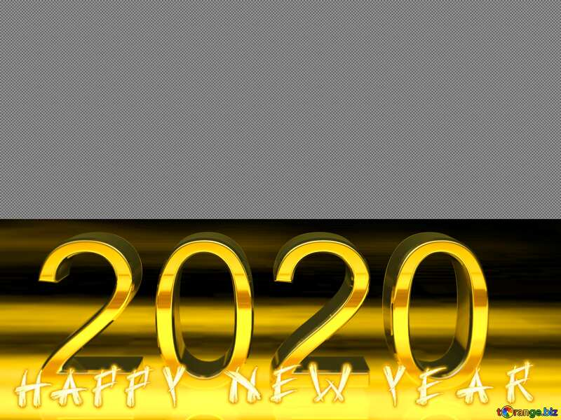 happy new year 2020 3d render gold digits with reflections dark background isolated №54492