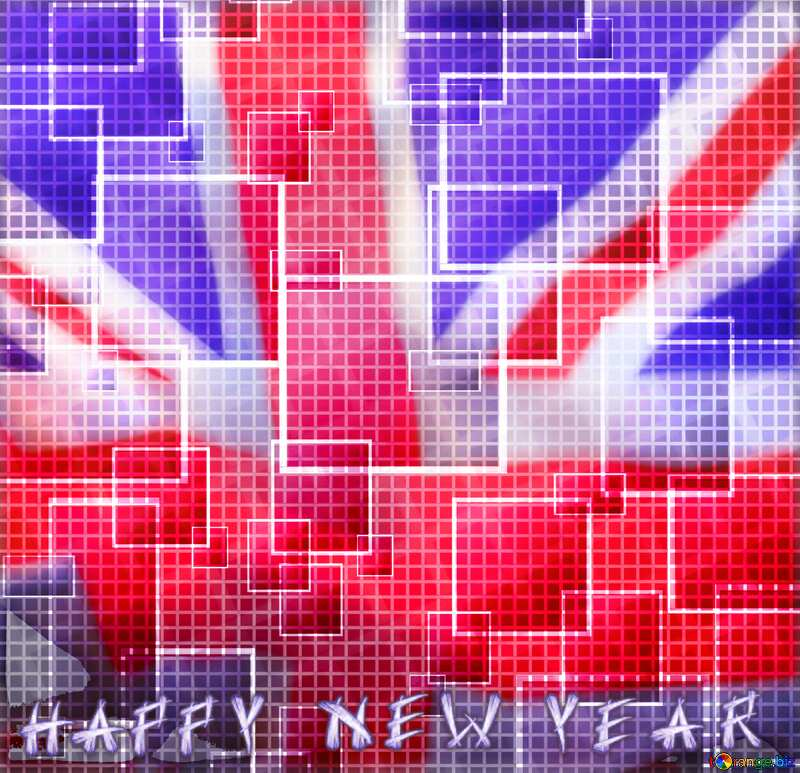 happy new year tech abstract background United Kingdom flag №49678