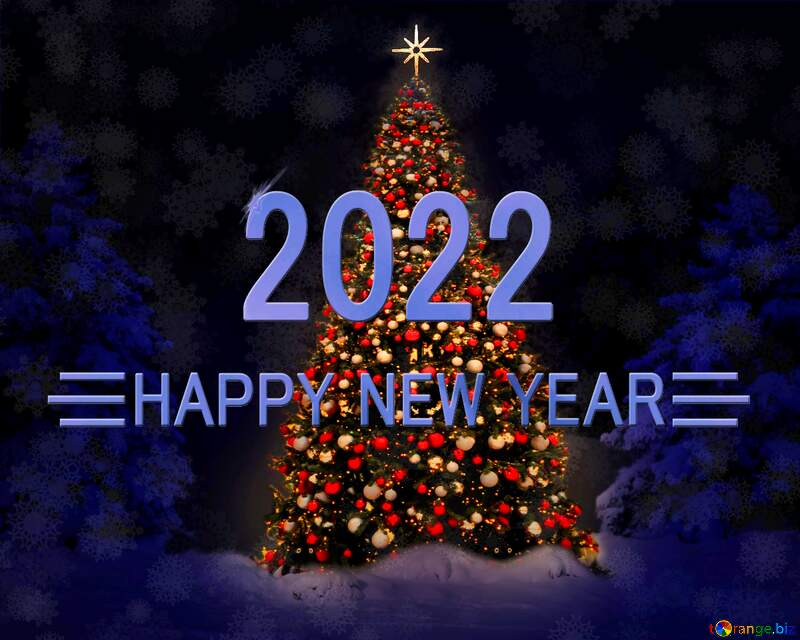 Christmas tree happy new year 2021 blue background №40739