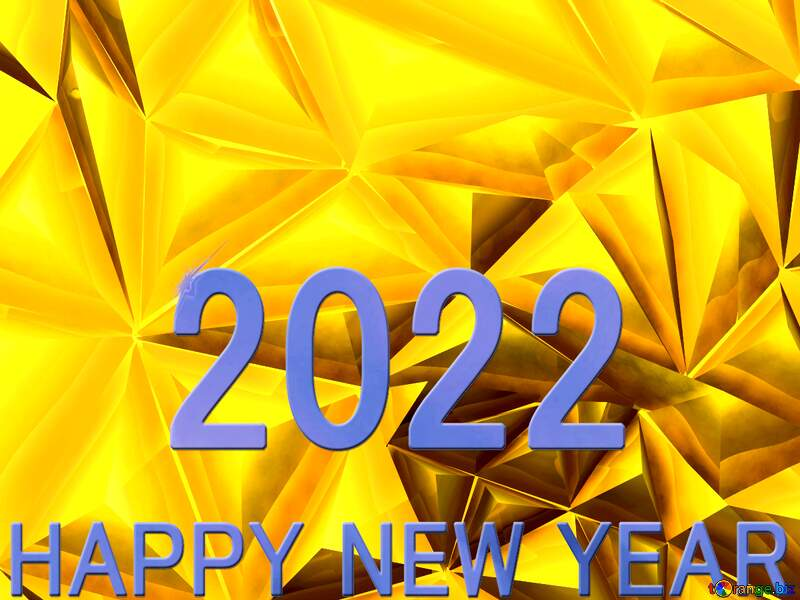 Polygon gold background Happy  New  year. Postcard. 2021 blue №51586