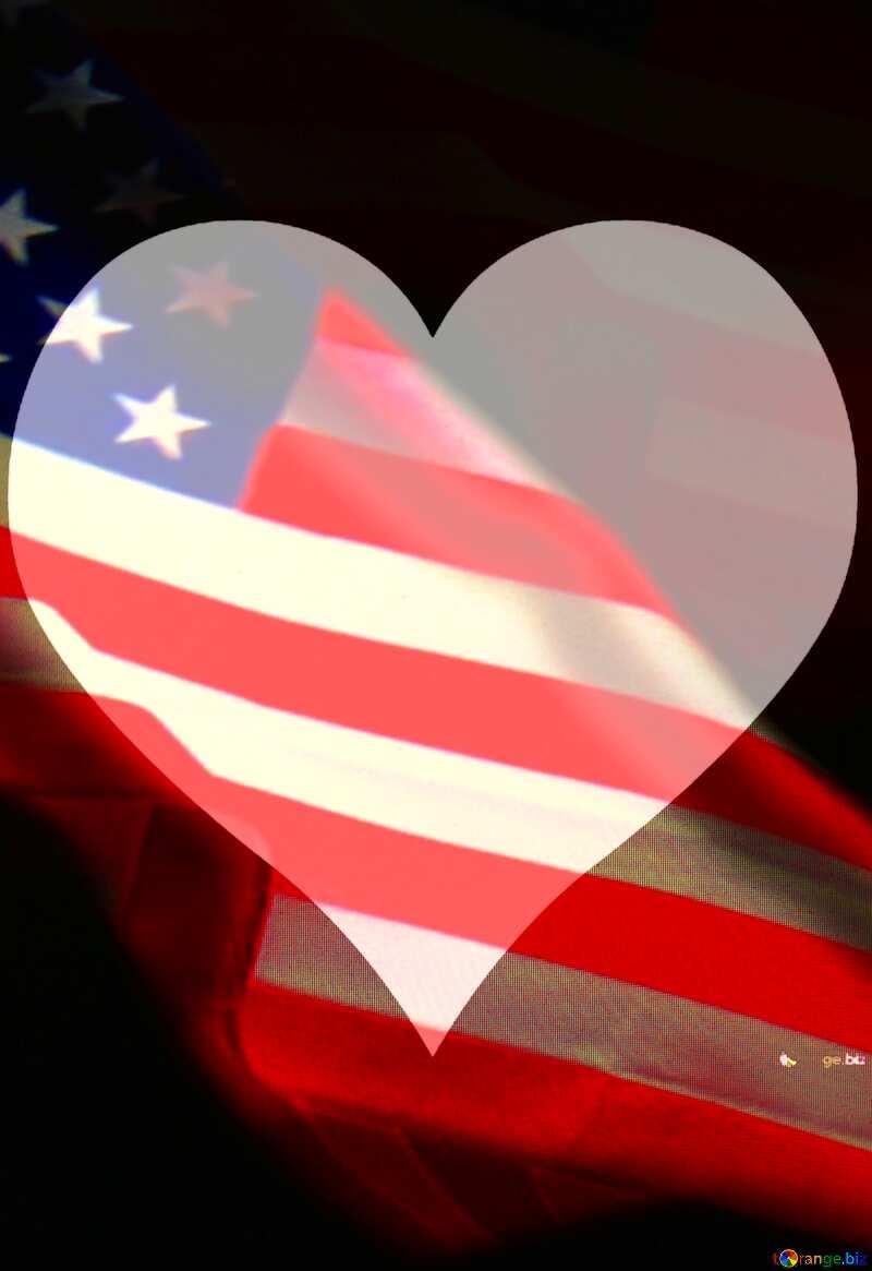 American Flag dark background Love USA №52480