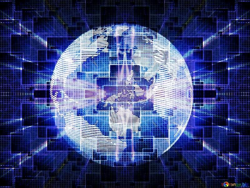Modern global world earth concept planet symbol Techno neon blue Lights №54515