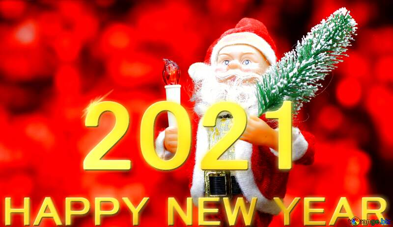 New Year`s card with Santa Claus toy brings Christmas tree at glow red bokeh background . Big Copyspace concept for New Year`s market banner, poster, congratulations. 2021 №48165