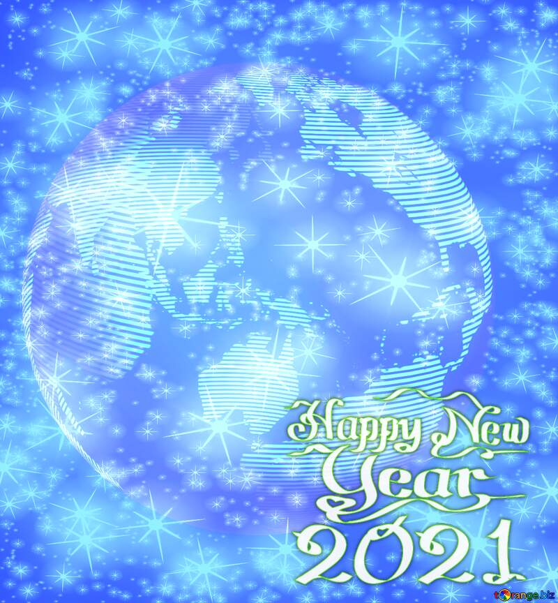Modern global world earth concept planet symbol Twinkling Stars Pattern Happy New Year 2021 №54515