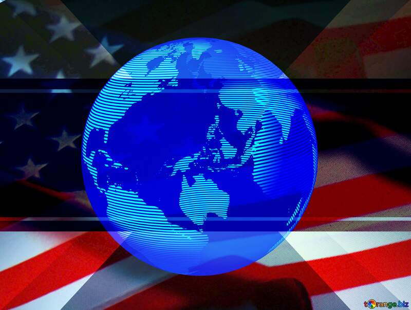 USA American Flag earth global  background template №52480
