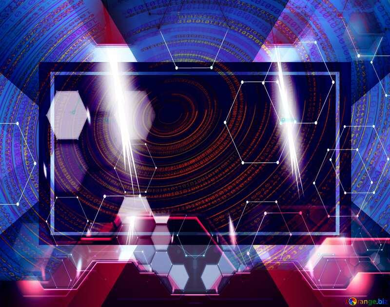 Digital Binary futuristic  template red №49672