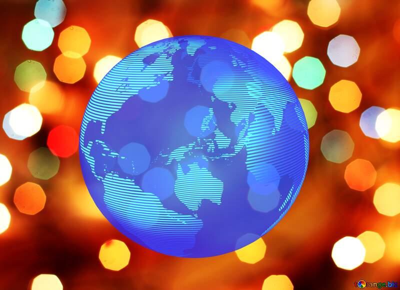 Christmas background stars bokeh Modern global world earth concept planet symbol dark blue №24617