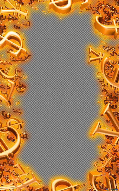 Vertical Red Golden money frame finance. №51554