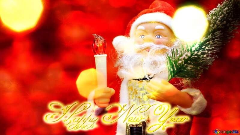 Santa Claus toy Happy New Year 3d gold Christmas twinkling stars №48170