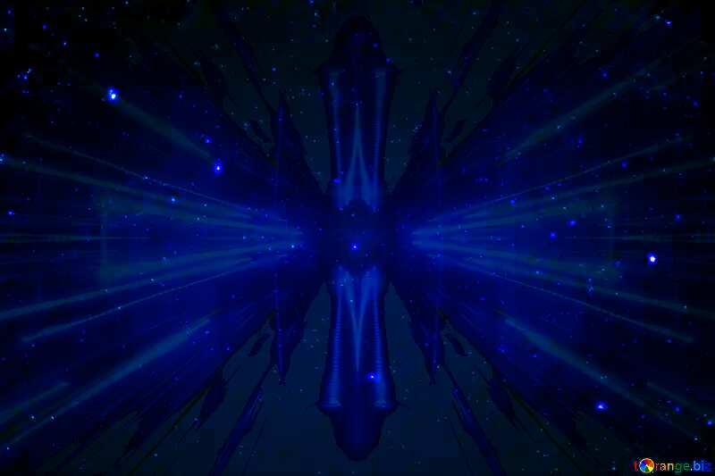 Starry night sky Techno neon blue Lights №44730