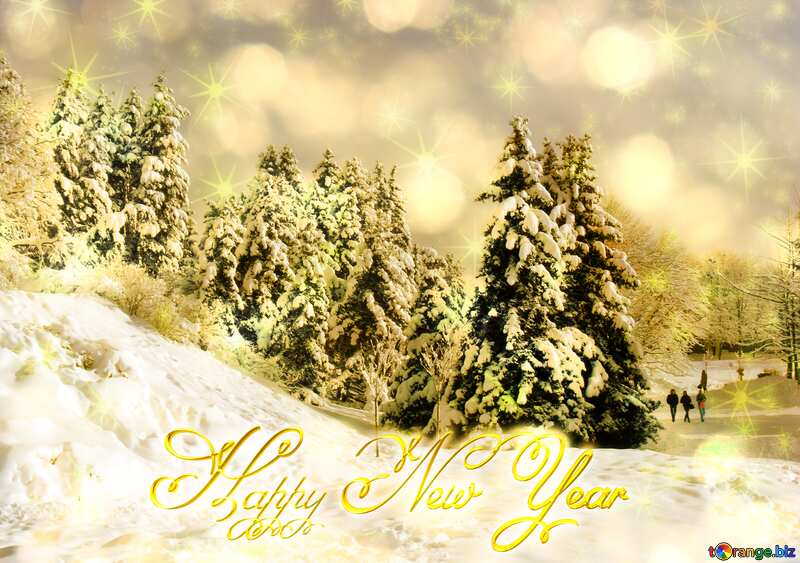 Christmas Tree Winter Forest Happy New Year stars golden background №10526