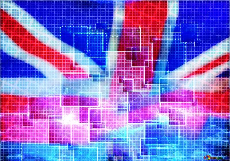 Tech Squares Lights Banner Background United Kingdom flag №49678