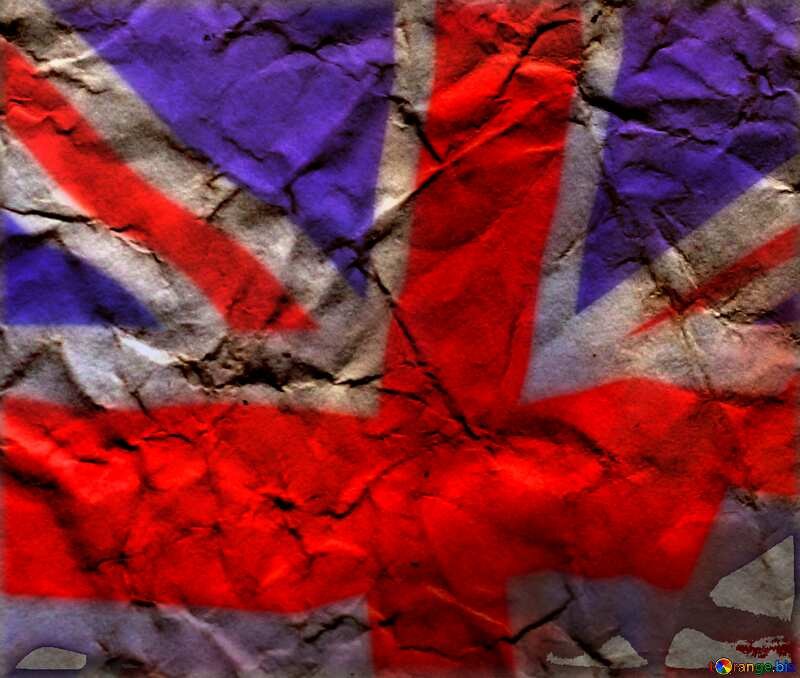 Texture of crumpled paper United Kingdom flag №16019