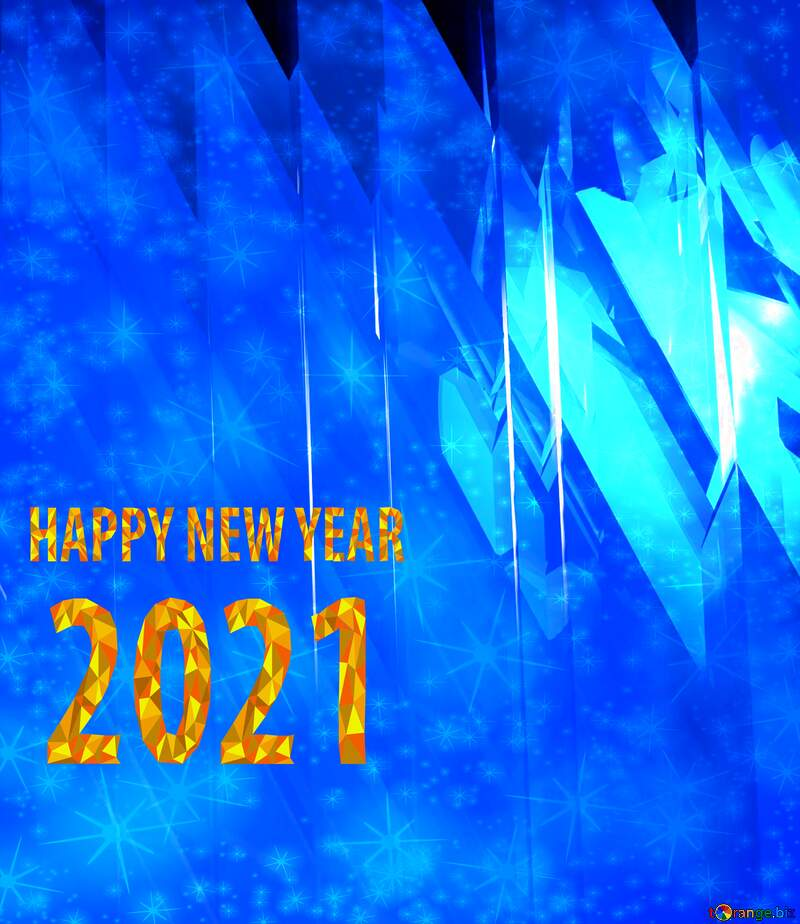 Blue futuristic shape. Computer generated abstract background. Happy New Year 2021 Twinkling Stars №51524