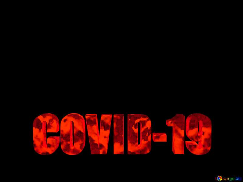3D lettering red Covid-19 on black background №54732