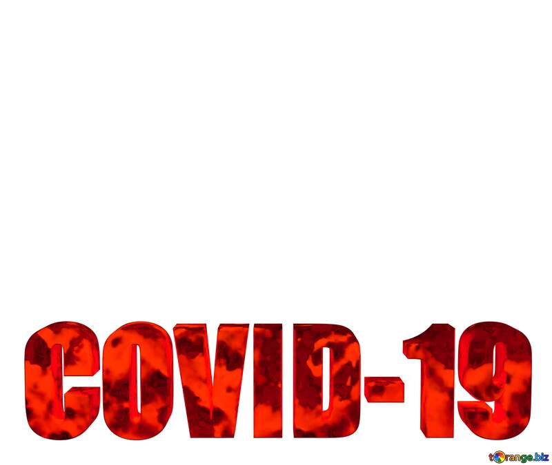 3D lettering red Covid-19 on white background №54732