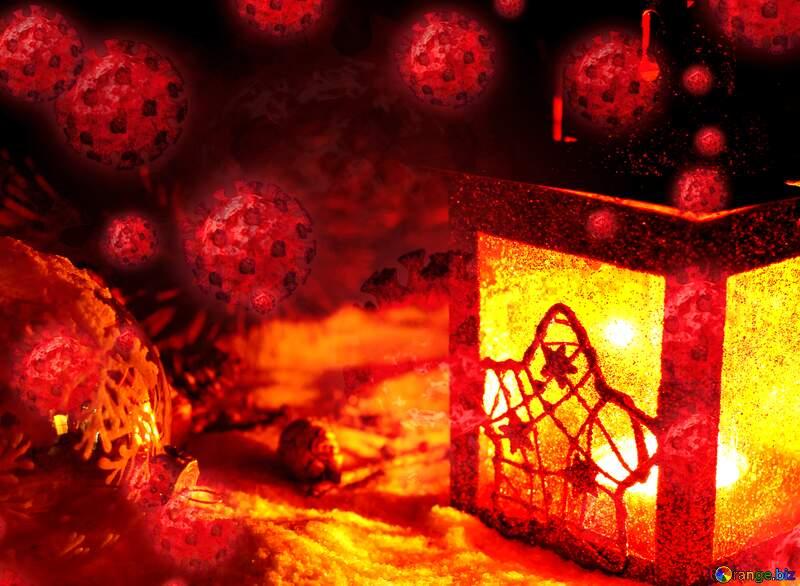 Christmas candle virus background №37919