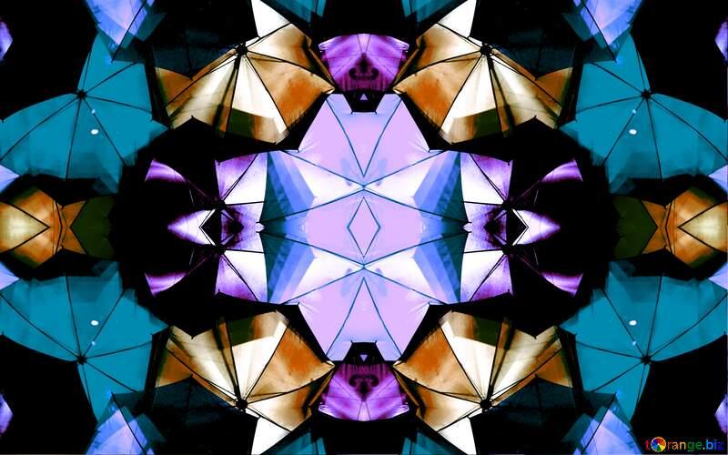 Cold colors umbrellas mosaic pattern №40969