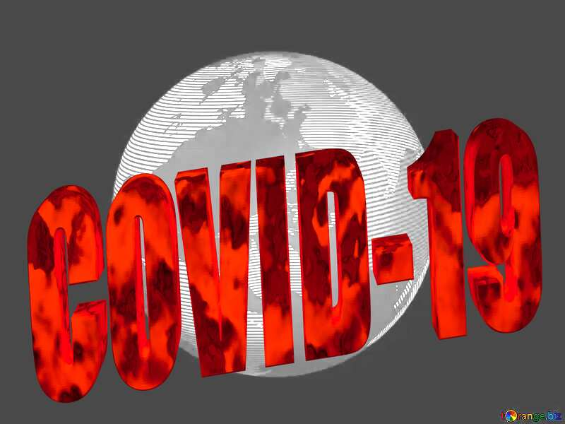 Modern global world earth concept planet symbol metal texture Covid-19 3d red text №54515