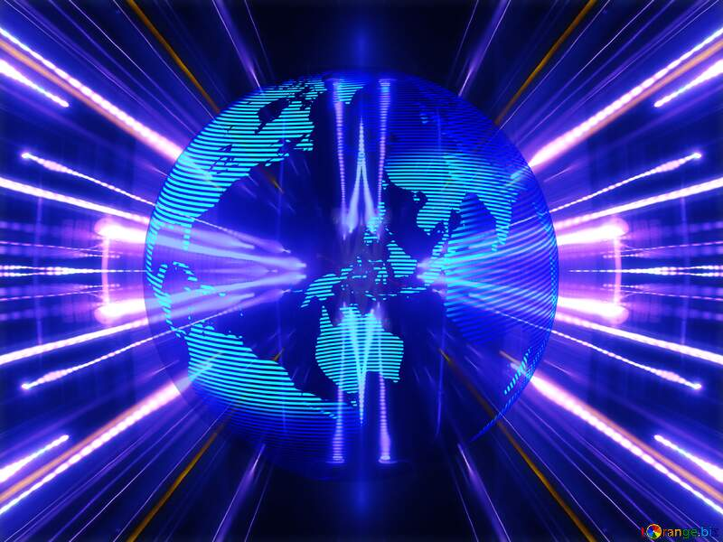Modern global world earth concept techno lights neon blue №54516