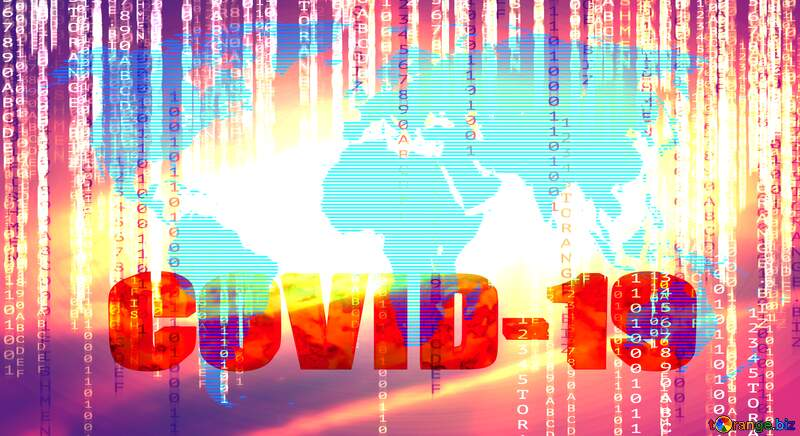 World map concept global network line Digital technology binary code 3d text Corona virus Covid-19 Coronavirus disease 2019 2020 №54504