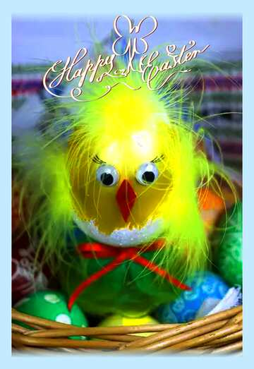 The effect of the dark. Very Vivid Colours. Bright colored frame. Happy Easter card.