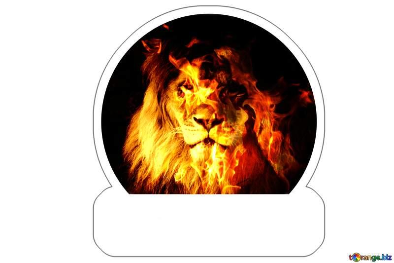 A Fire lion Sticker №44974