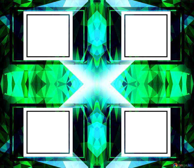 Four white blank squares on a green background template №49675
