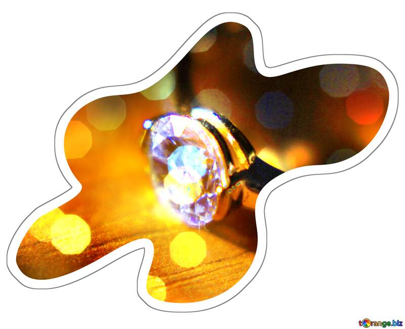 Gold diamond ring abstract Sticker template №18587