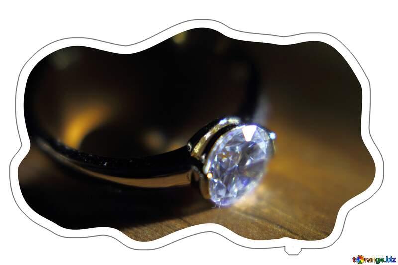 Gold diamond ring cloud Sticker №18587